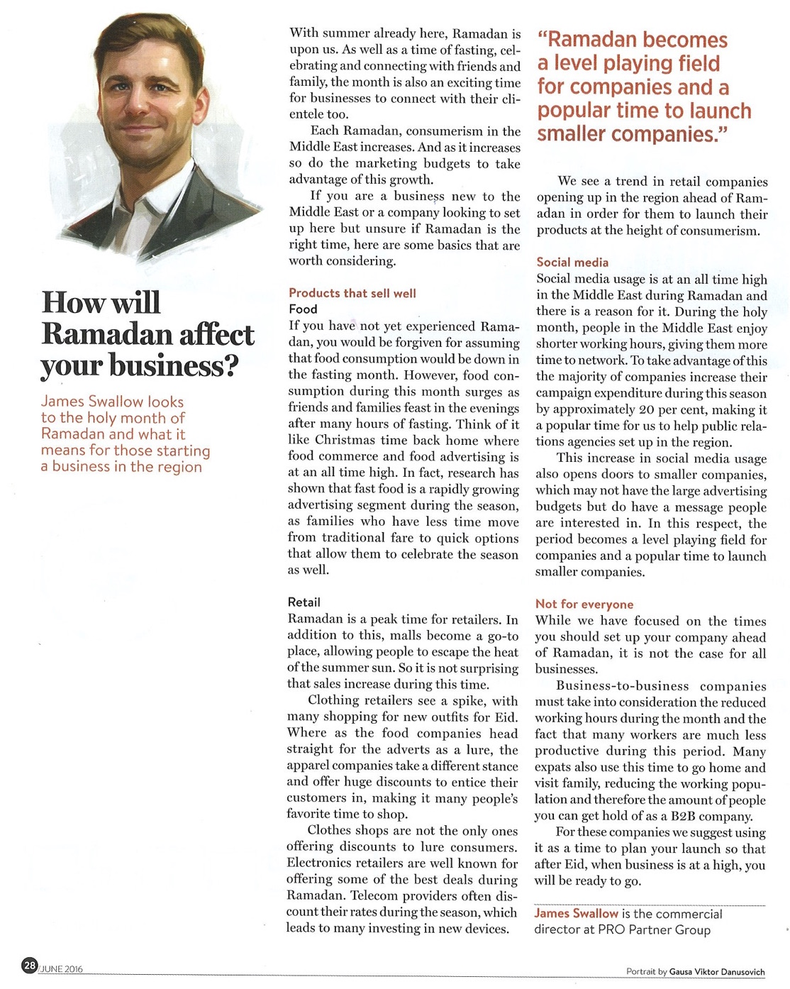 James Swallow speaks to Gulf Business Magazine about how Ramadan can affect business
