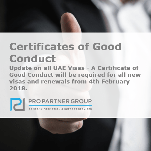 Update on all UAE Visas - Certificates of Good Conduct UAE Dubai Abu Dhabi