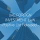 UAE FDI LAW 100% Foreign Ownership Positive List